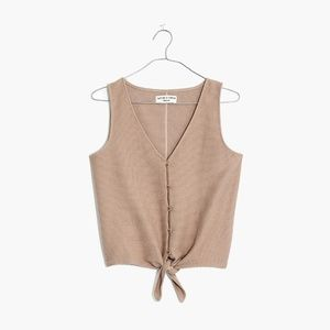 NWOT Textured Button-Front Tie Tank Top